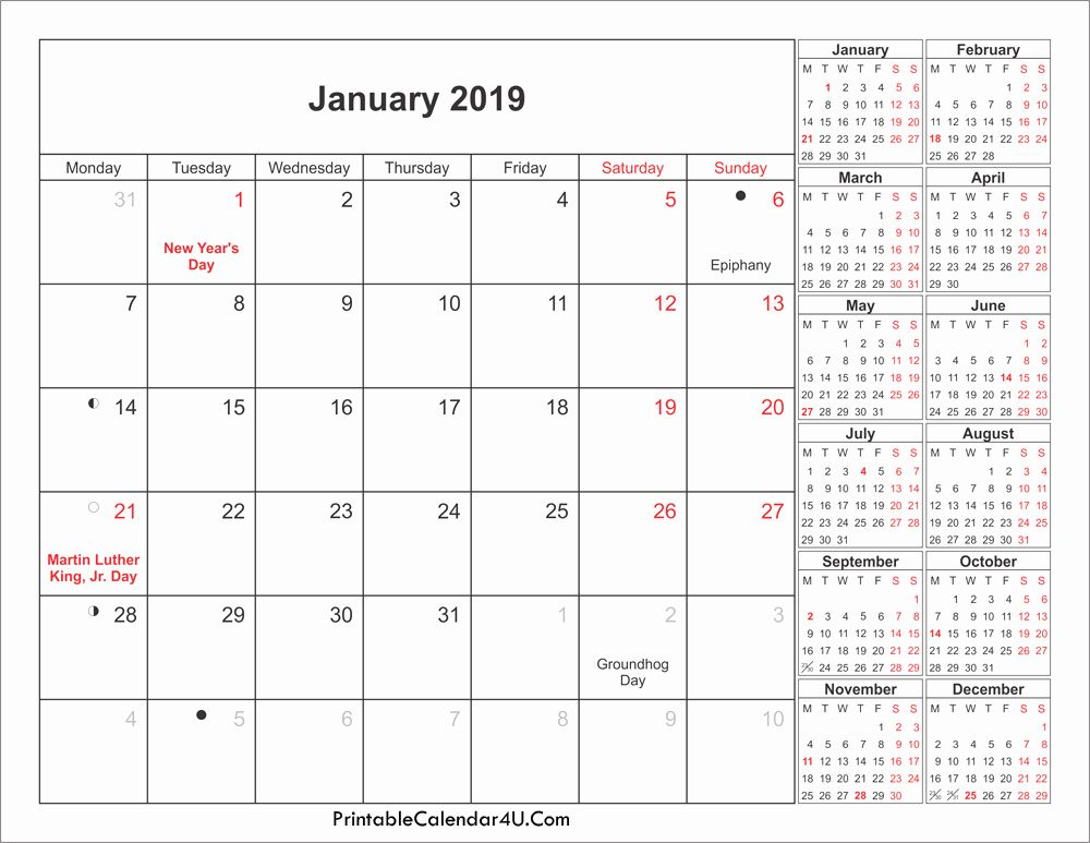 January 2020 Calendar With Holidays Us Uk Canada India