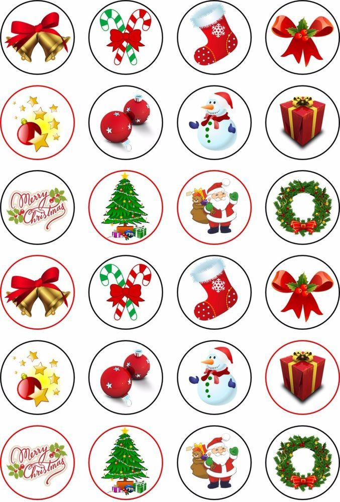 24 *** Fancy Xmas *** ICING Edible CUPCAKE TOPPERS
