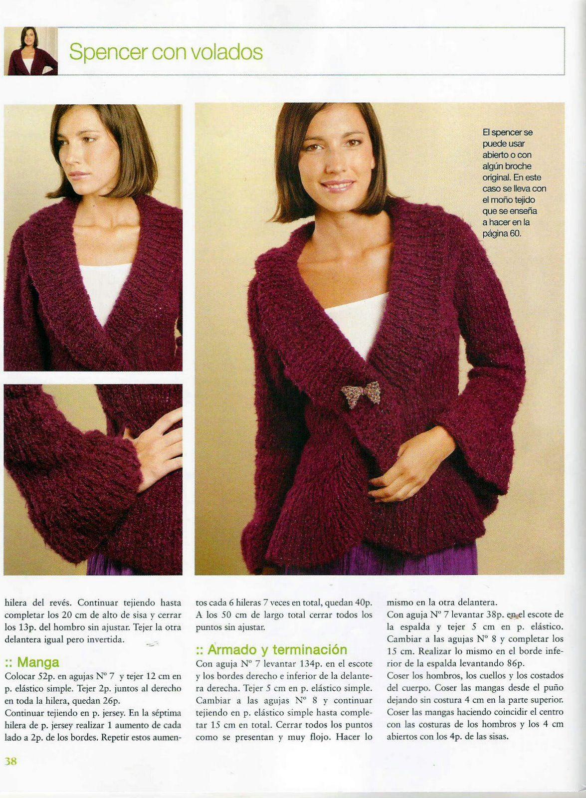 iKnitts: Patron para tejer un Saco Spencer con volados | Knitting ...