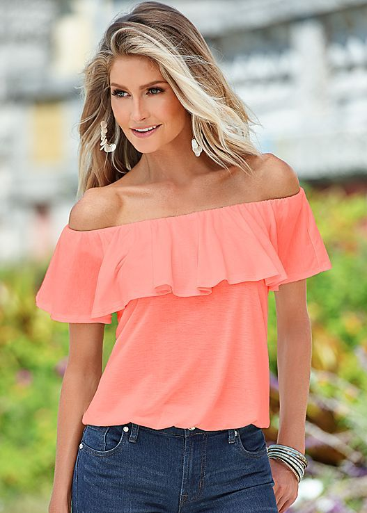 a29e293f2d93 Waiting for something new and beautiful  Venus off the shoulder top creates  a look everyone will love.