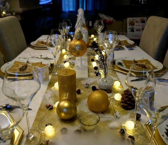 table de fête or et blanc , Festival table gold and white Table De Noël  Blanche