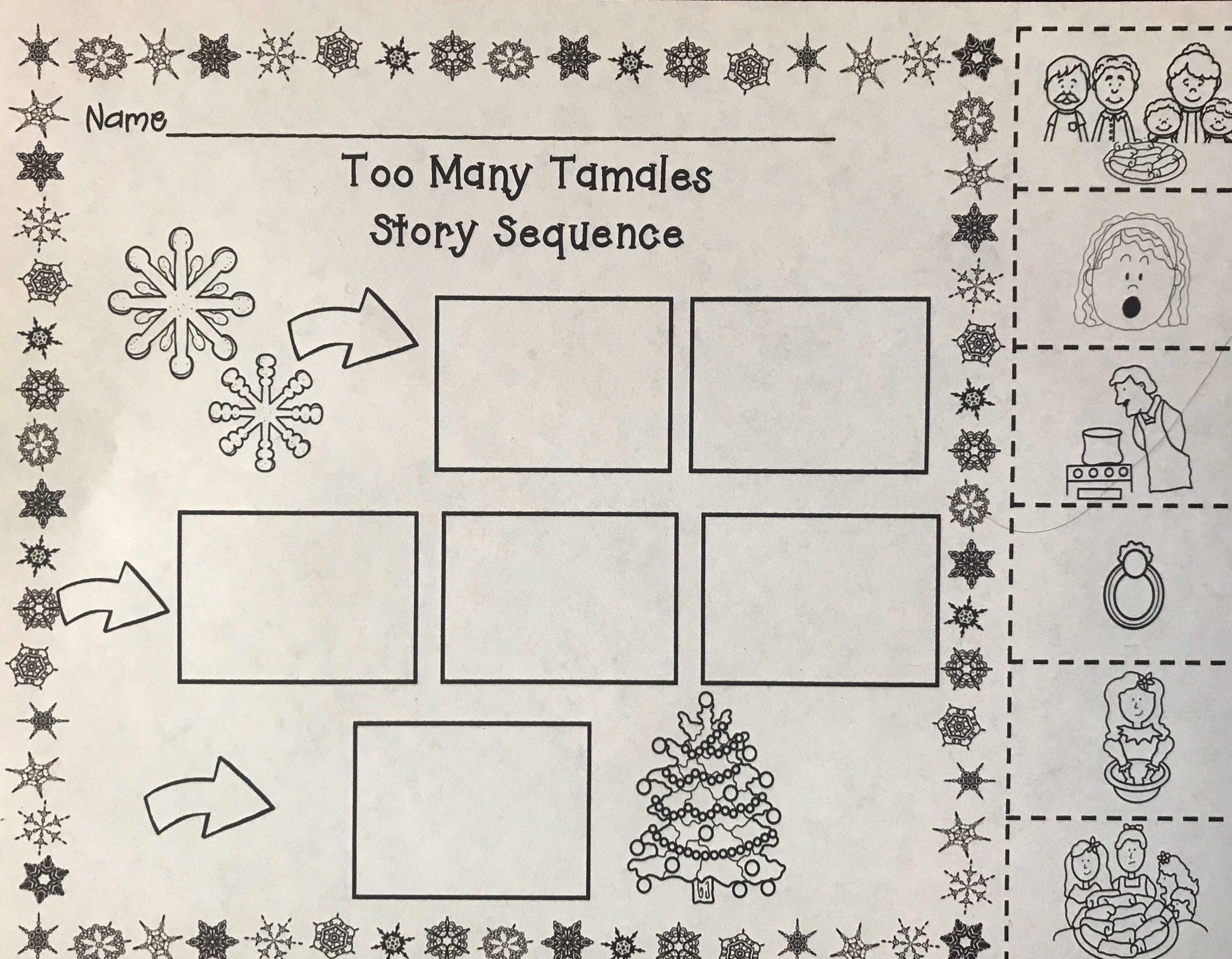 Too Many Tamales Story Sequence Kindergarten Worksheets Math Journals Kindergarten Reading Comprehension Lessons