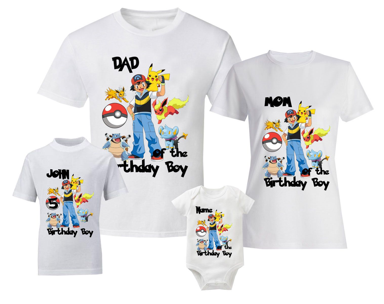 728b6769 Pokemon Birthday T-Shirts Personalized Shirt Custom Family Shirts Birthday T -shirts And Baby Bodysuit by BestDesignStoreGifts on Etsy
