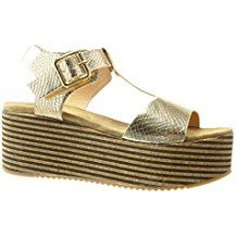 Angkorly - Chaussure Mode Sandale Mule salomés plateforme femme liège lignes lanière Talon compensé plateforme 7 CM - Or