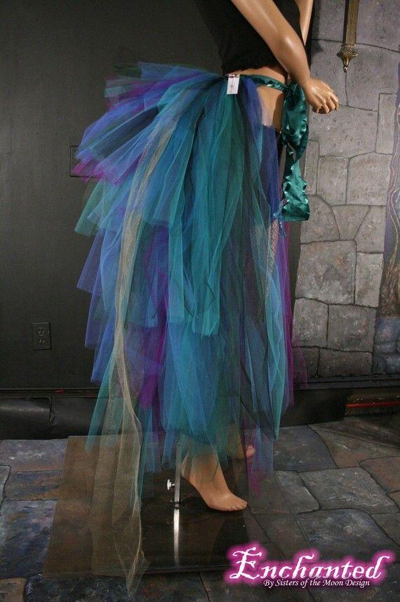 Massive Pfau Burleske Krawatte auf treiben Lagenlook Tüll halb Tutu Boden Länge Tanz Tänzerin Kostüm Halloween – blau eine Größe XS-XL – verzaubert