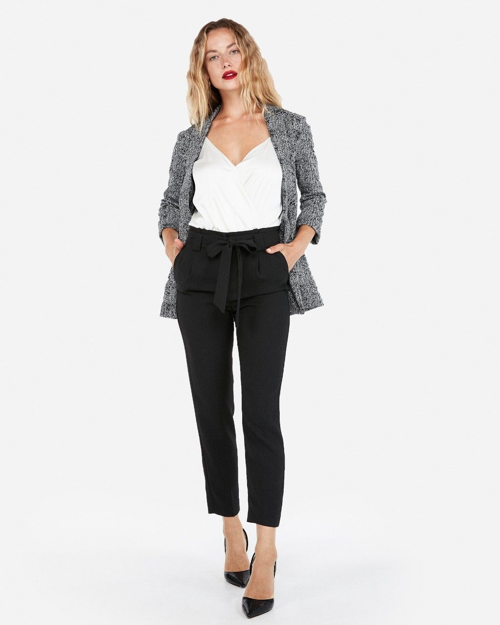 Meet Your New Summer Work Pants This Ankle Style Will Get You Ready For Warm Weather High Waisted Pants Outfit High Waisted Tie Pants High Waisted Dress Pants [ 1280 x 1024 Pixel ]