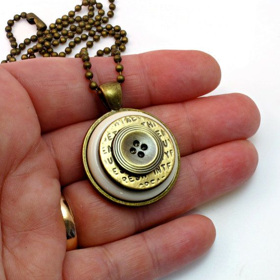 Cute Pendant With Vintage Buttons Everyday By BluKatDesign