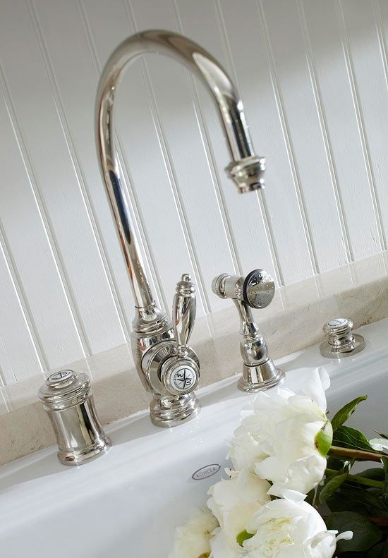 Vintage style nickel faucet and fixtures from Waterstone Faucets