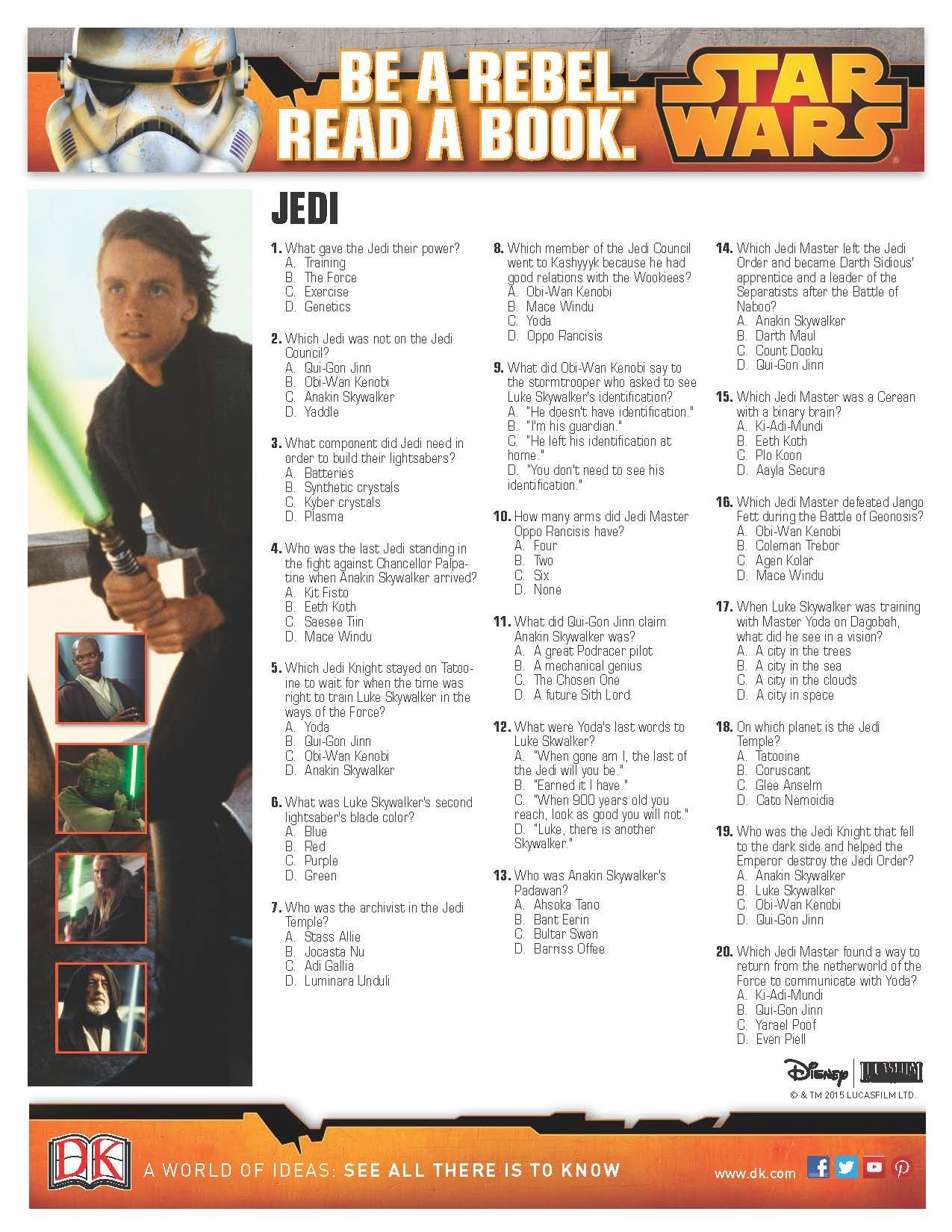 photograph about Star Wars Trivia Questions and Answers Printable titled Could possibly Star Wars Trivia Queries: Jedi Star Wars Camp Star