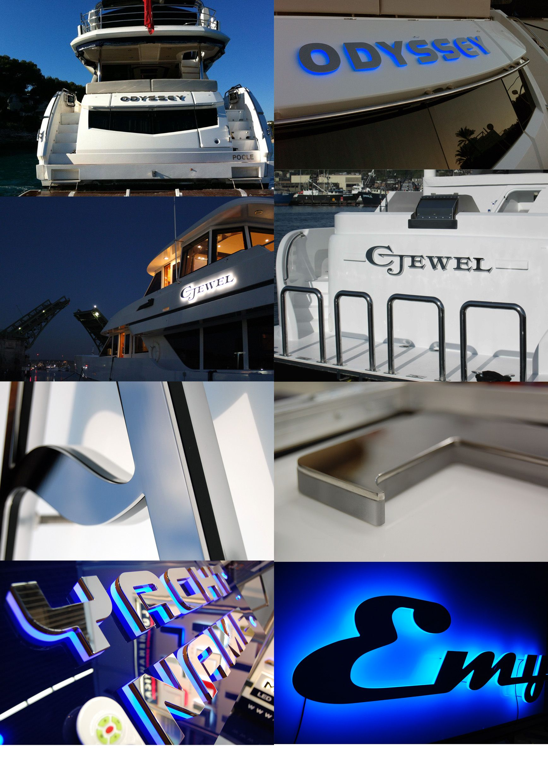 Illuminated boat names, illuminated boat lettering and boat