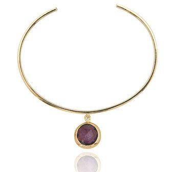 Made from a piece of amethyst set on an 18ct gold vermeil bangle, this simple and stunning bracelet will go with almost any outfit.