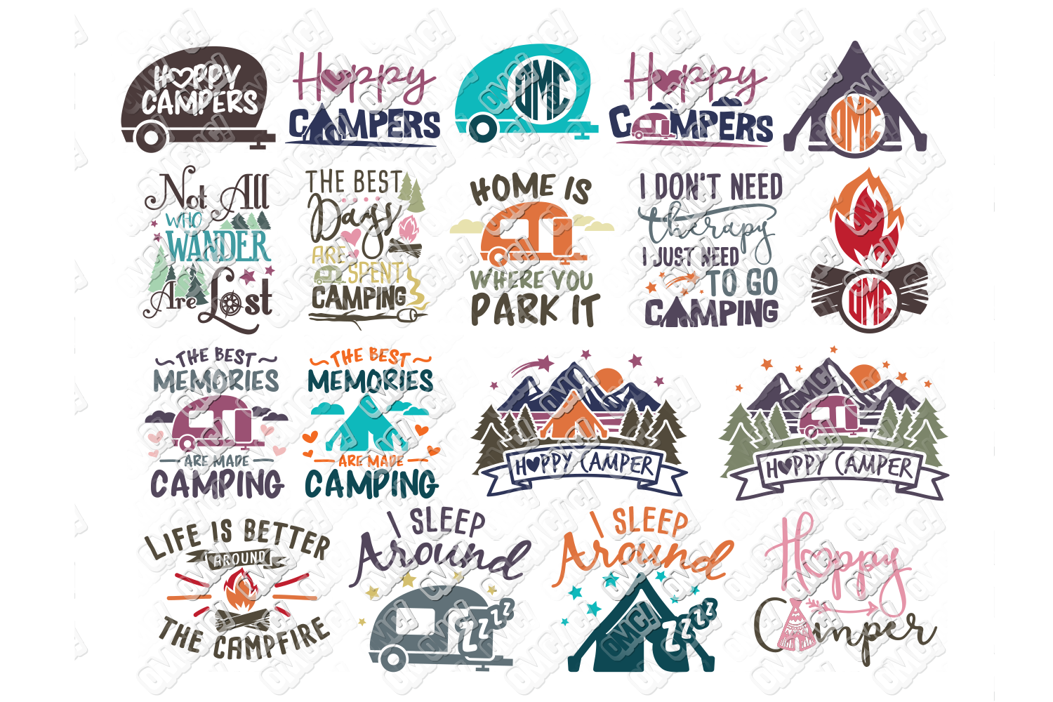 Camper Svg Bundle Camping Cricut And Silhouette Files