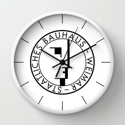 BAUHAUS LOGO / WHITE Wall Clock by THE USUAL DESIGNERS - $30.00