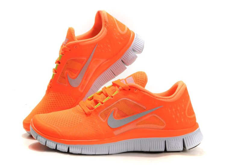 Nike Free Run 3 Mens Total Orange Silver Lightweight Running Shoes