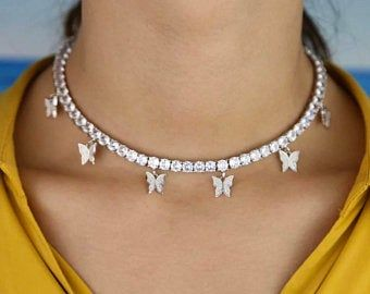 Butterfly Tennis Necklace Heart Arrow Cz Tennis Chain With Etsy In 2020 Necklace Jewelry Tennis Necklace