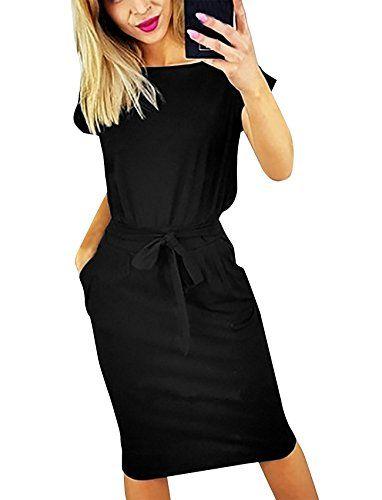 d93f7de494b Quceyu Robe éte Femme Chic Manches Courtes Elégante Cocktail Soirée Tunique  Robe Midi Avec Ceinture (XL Noir)