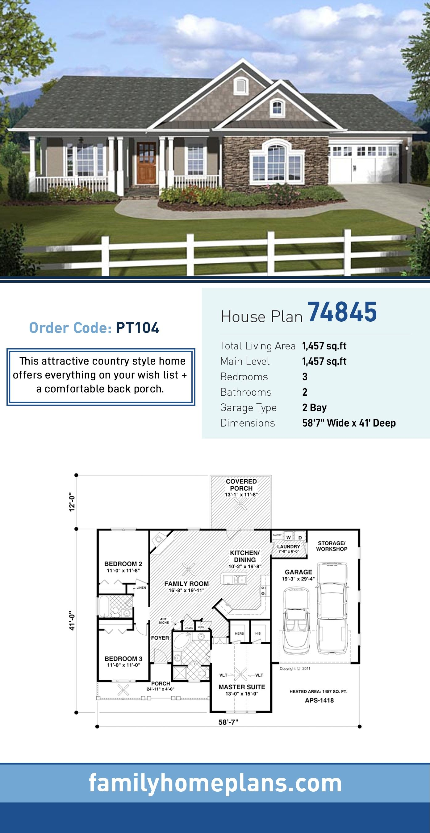 Photo of Traditional Style House Plan 74845 with 3 Bed , 2 Bath , 2 Car Garage