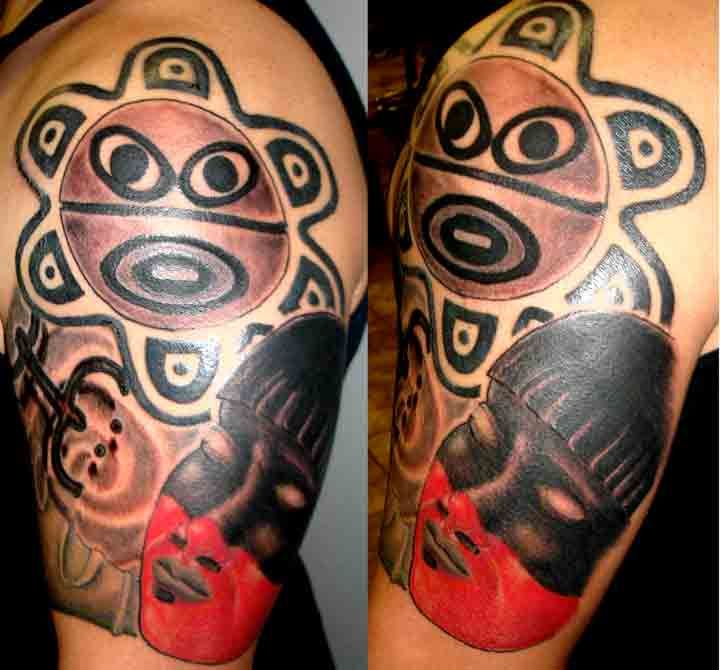 Taino Indian Custom Tattoo Sleeve. Custom Tribal Taino