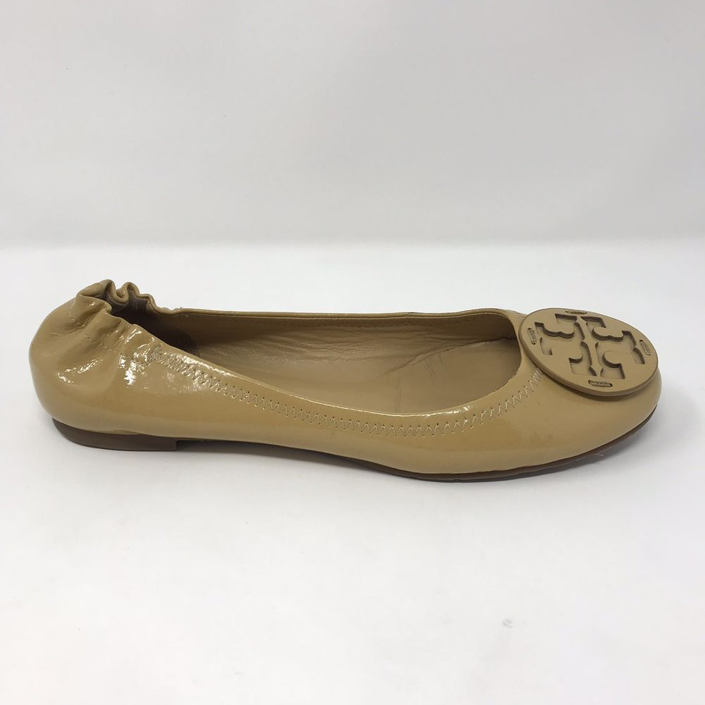 512f2fe1d1daea Tory Burch Reva Minnie Womens Size 8.5 Yellow Gold Leather Travel Ballet  Flats  ToryBurch  BalletFlats