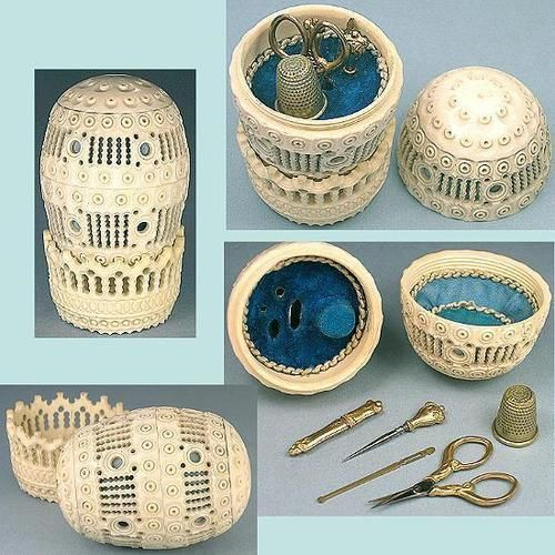 Antique French Carved Bone Egg Child's Etui Sewing Set Complete C1860s | eBay