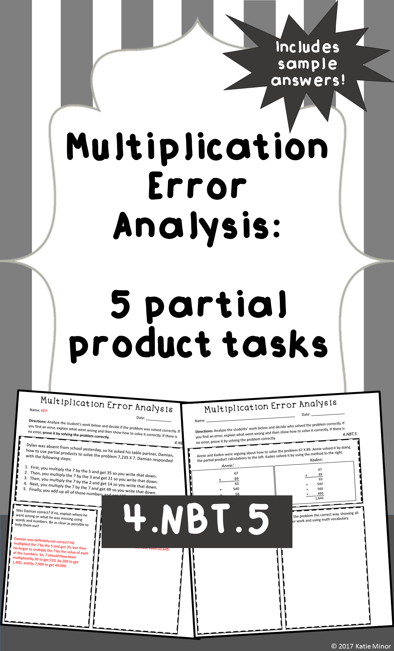 worksheet Partial Product Multiplication Worksheets multiplication error analysis partial products are you looking for a new way to check your students understanding of the method tired th