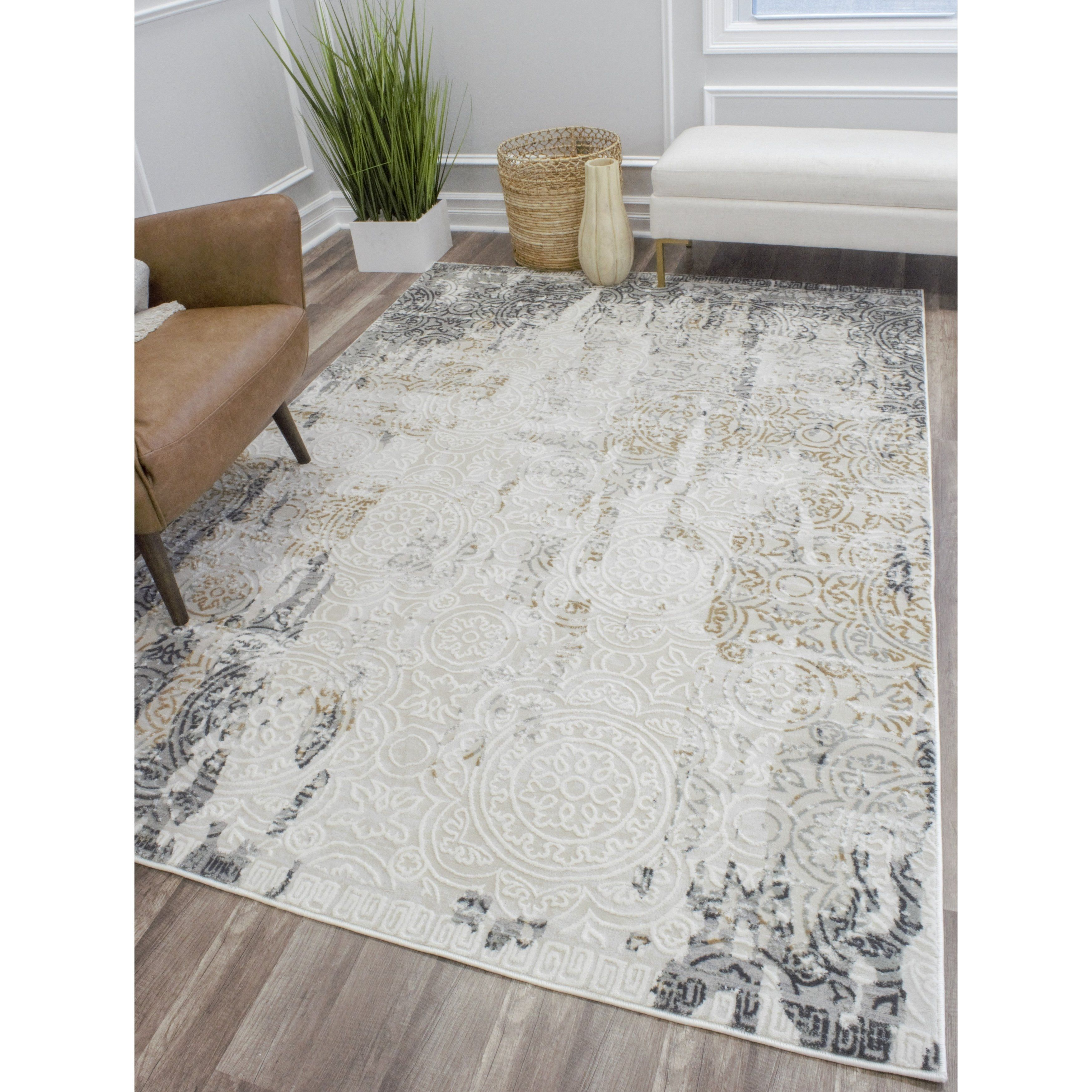 Cosmoliving Helena Rug 8 X 10 8 X10 Ivory Polyester Abstract Rugs Area Rugs Grey Area Rug