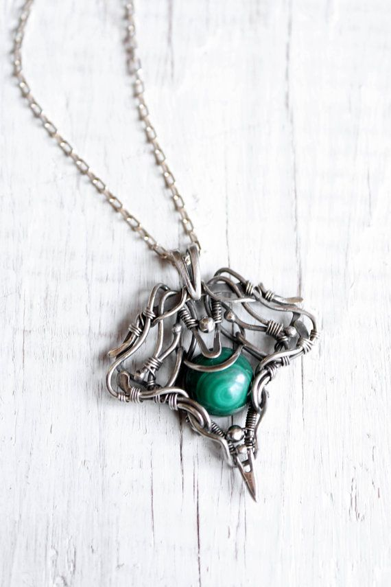 Colgante de plata, joyería de alambre, colgante malaquita, joyería ...