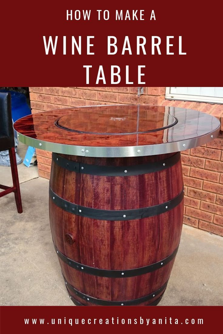 Handmade Wine Barrel Table With A Built In Wine Bucket To Store Ice And To Chill Your Drinks While Socialising The Wine Barrel Table Barrel Table Wine Barrel