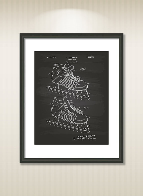 ab569abb5b00e Hockey Shoe 1934 Patent Art Illustration - Drawing - Printable ...