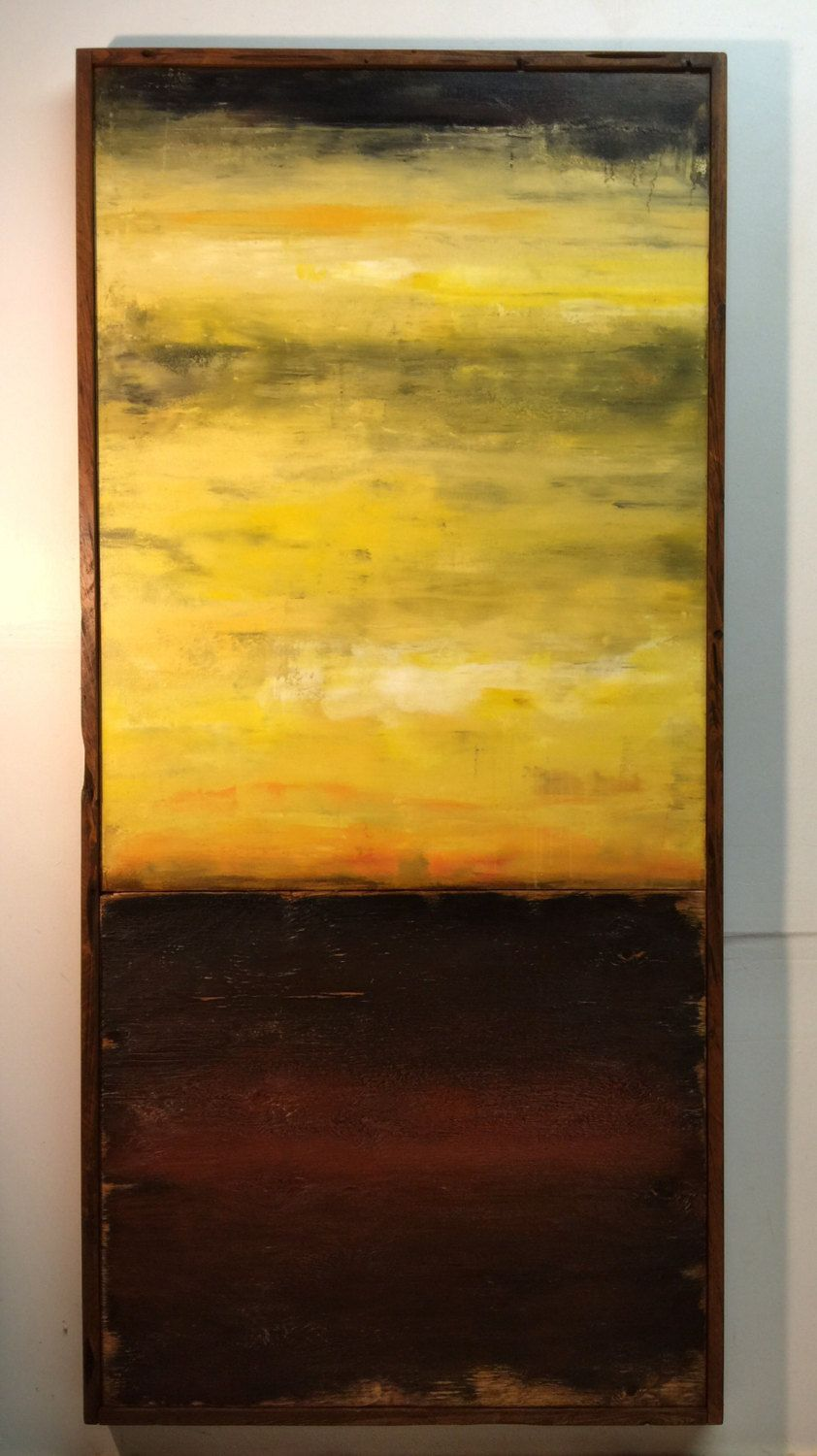 Large abstract painting on canvas and distressed wood board ...