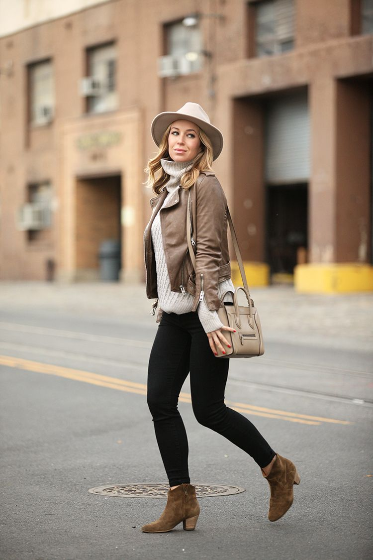 What to wear with a tan leather jacket