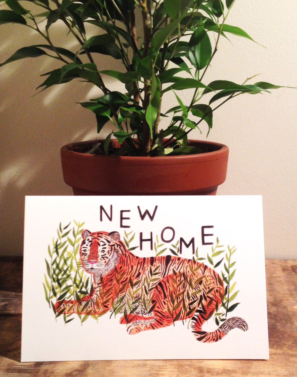 New home tiger card by CarolineDowsett on Etsy https://www.etsy.com/listing/209152970/new-home-tiger-card