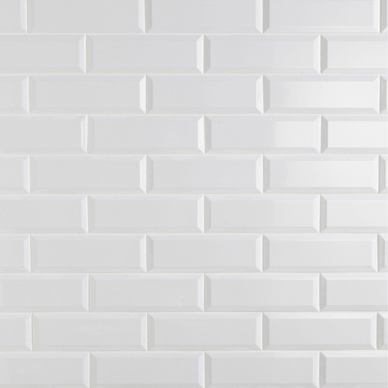 carrelage mural plaquetas en faà ence blanc 10 x 30 cm leroy