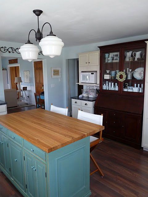Attirant Blue Kitchen Island With Butcher Block Top, Combined With Bench Table  Seating :)
