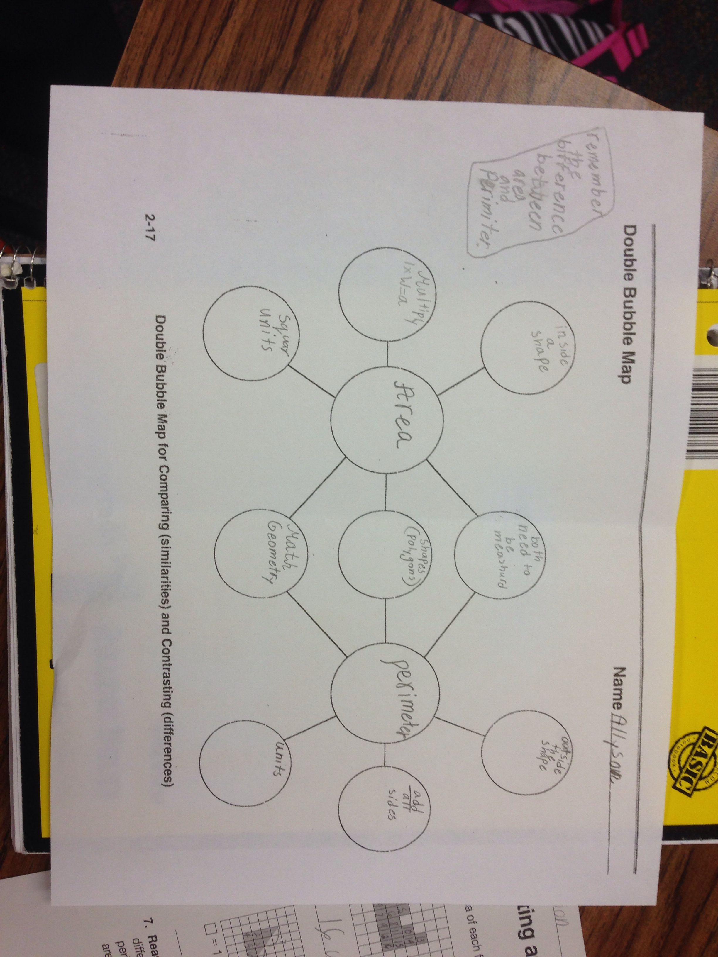 Double Bubble Map Area And Perimeter This Really Helps