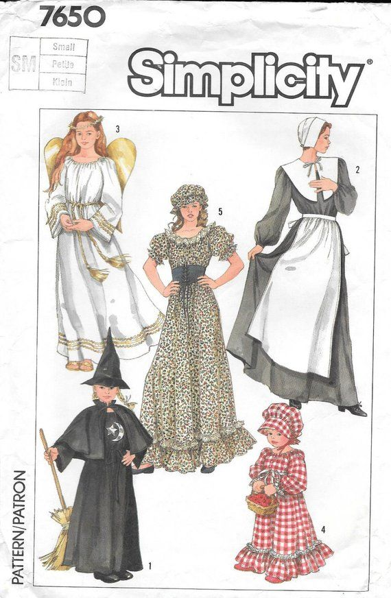 Simplicity 7650 1980s Adult Costumes Angel Pilgram Witch Wench ...