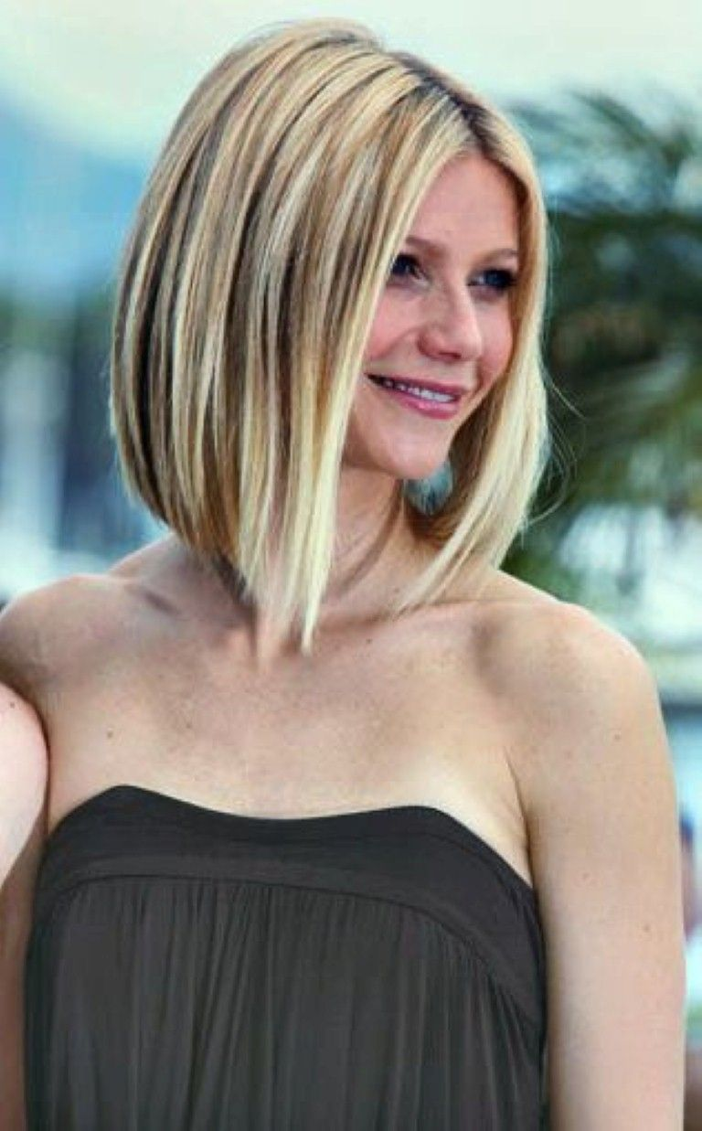 Cool Long Length Angled Bob Haircut Without Bangs Hairstyle