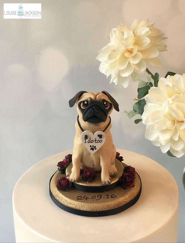 Pug Cake Topper Custom Dog Cake Topper Dog Wedding Cake Topper