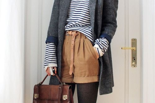 camel shorts+black tights+stripes+long cardi.