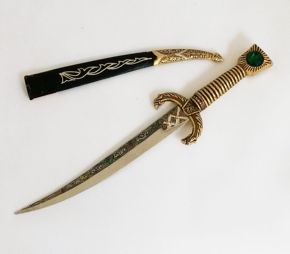vintage souvenir spain jeweled sword letter opener gold tone leather toledoware
