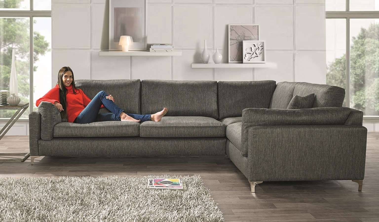 The Scrumptious Really Is A Scrummy Treat In Luxurious Woven Chenille This Sofa Range Is Fabulous In Design And Big On Com Comfy Corner Sofa Corner Sofa Sofa