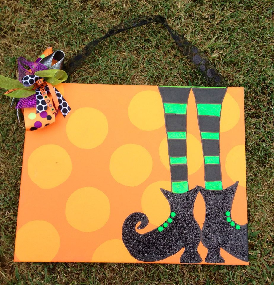 Personalized Halloween Canvas with Glitter Witch Shoes - 16x20 ...