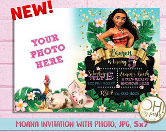 Moana Invitation with photoMoana birthday invitationmoana