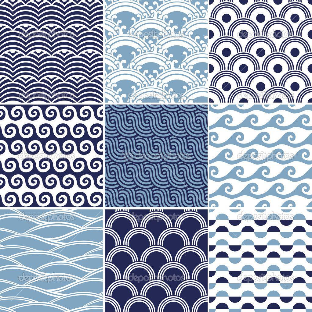 Ocean Pattern Seamless ocean wave pattern | Embroidery ...