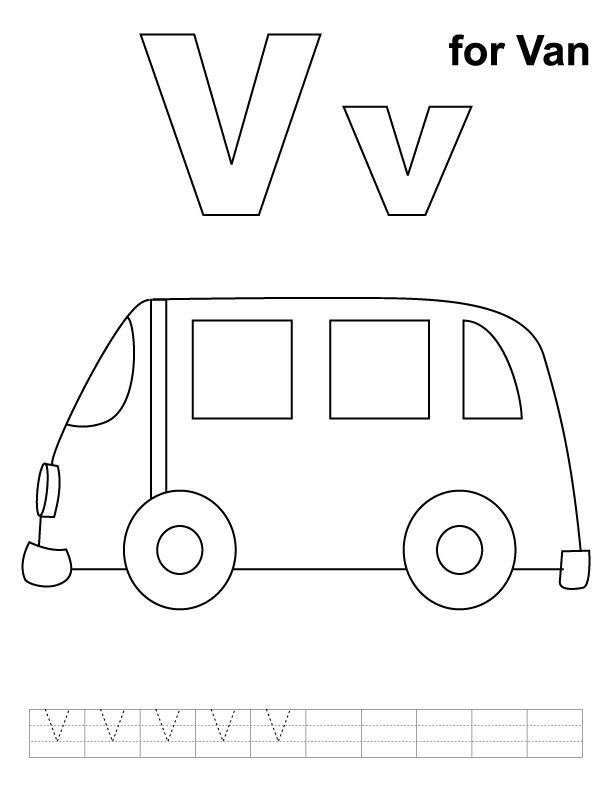 V For Van Coloring Page With Handwriting Practice Download Free V For Van Coloring Page With Coloring Pages Letter A Coloring Pages Kids Handwriting Practice