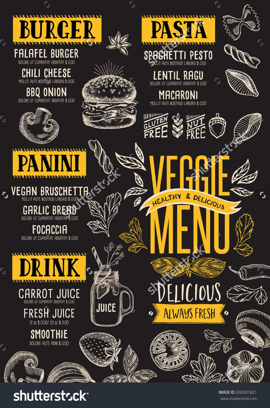 Vegan Food Menu For Restaurant And Cafe Design Template With Hand