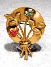 BIG Antique Signed Coro Pegasus Gold Plate Ruby Rhinestone Flowers Brooch Pin NR