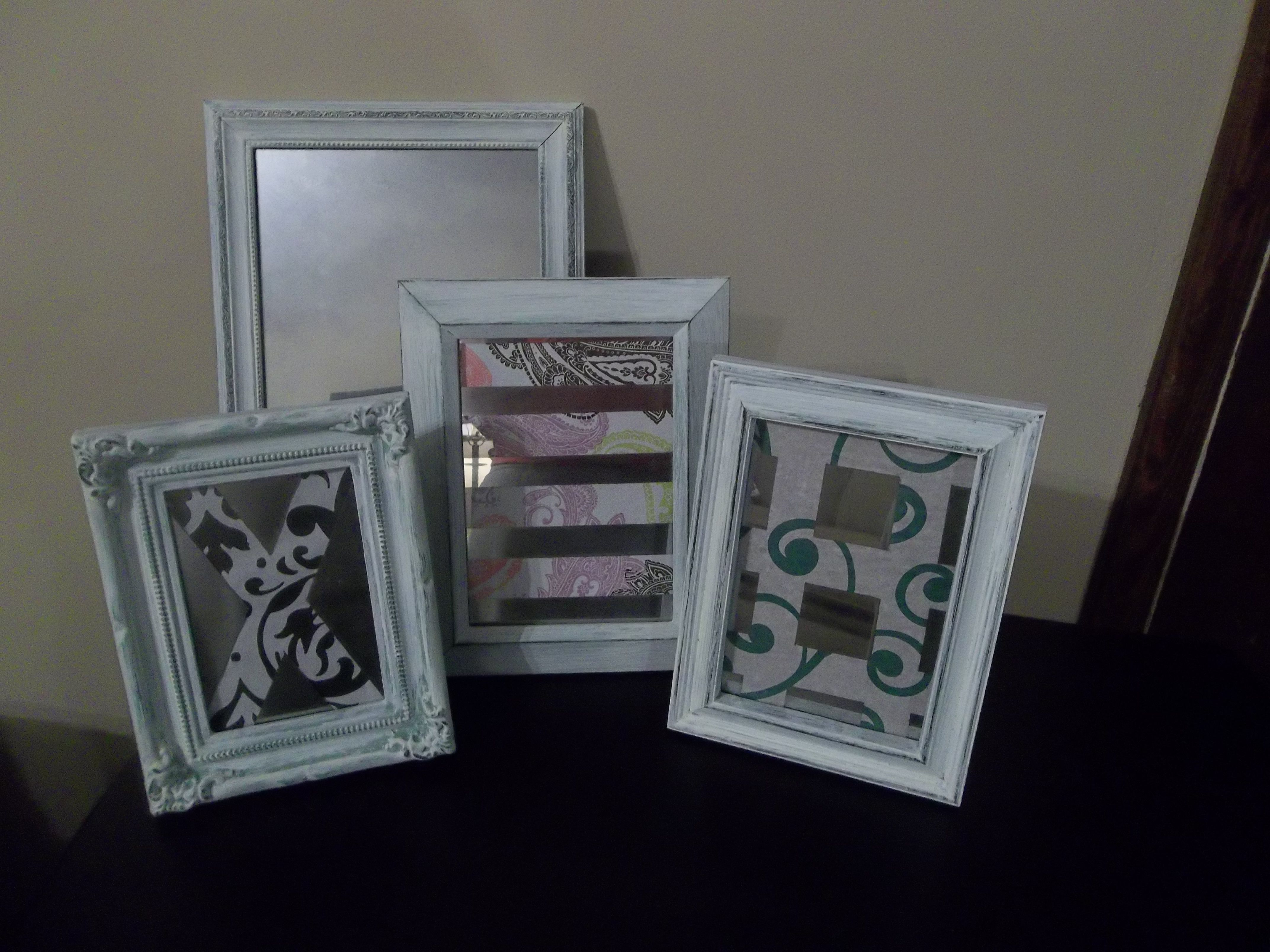 I made these using some empty picture frames I had lying around, Krylon  Looking Glass