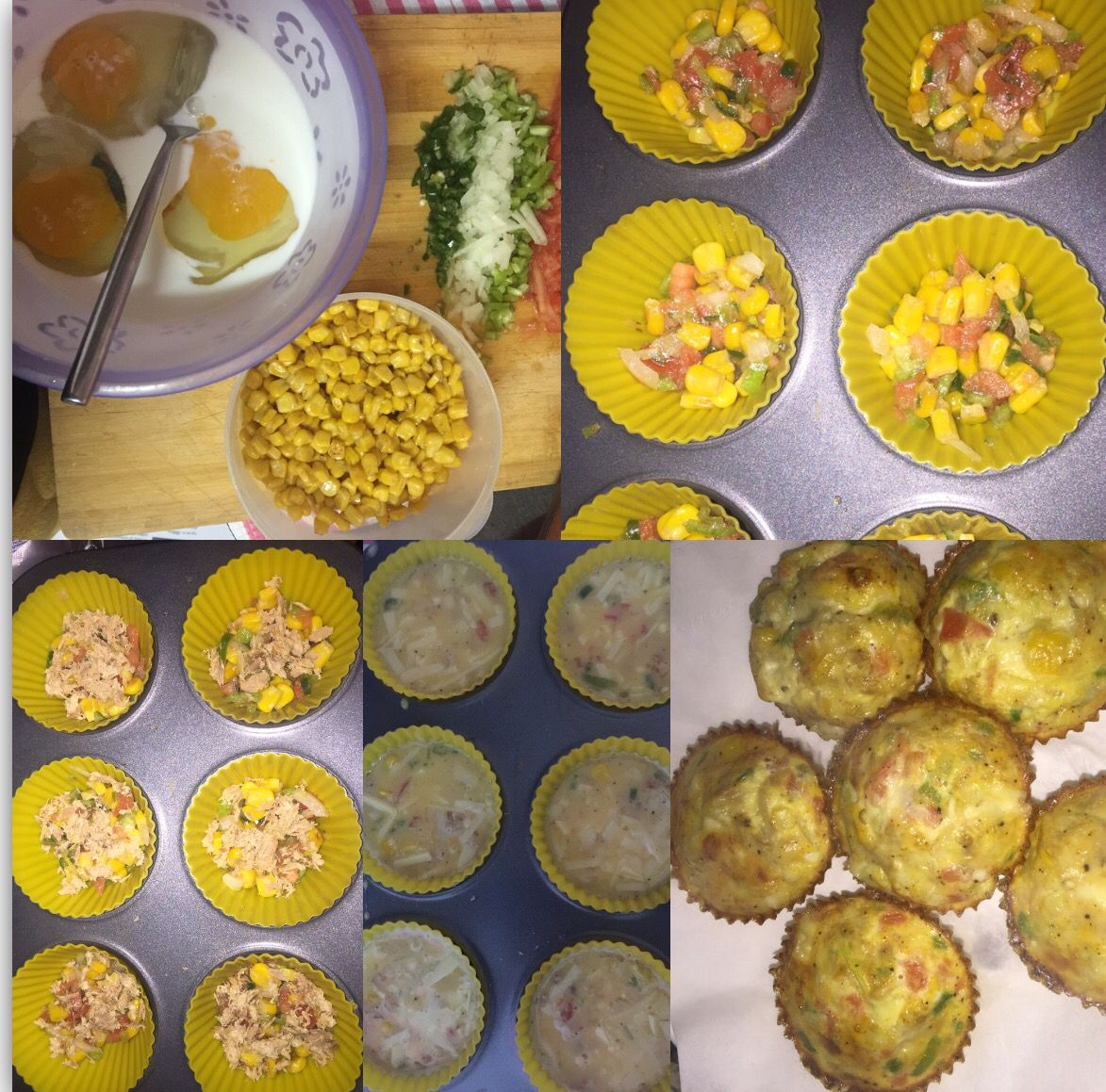 Quick and easy breakfast muffins - great for any time of the day!  4 eggs 1/2 cup milk  Tuna  Cheese  Tomato  Green pepper Sweet corn  Salt + black pepper  Onion  Bake till it looks like mine