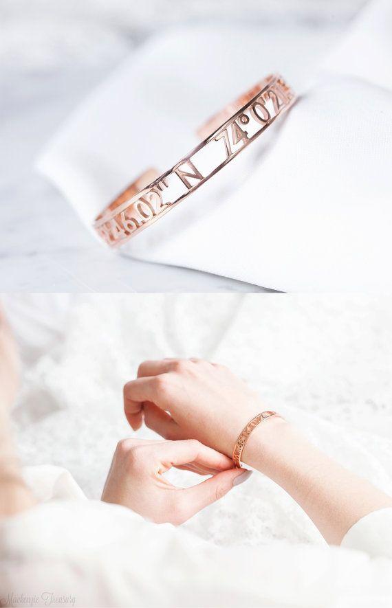 Custom Coordinates Bracelet Coordinates Cuff Bracelet